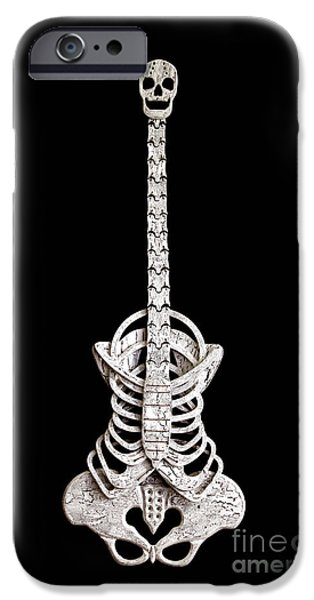Monochrome Sculptures iPhone Cases - Skelitar Mk.2 iPhone Case by Jonathan Morgan