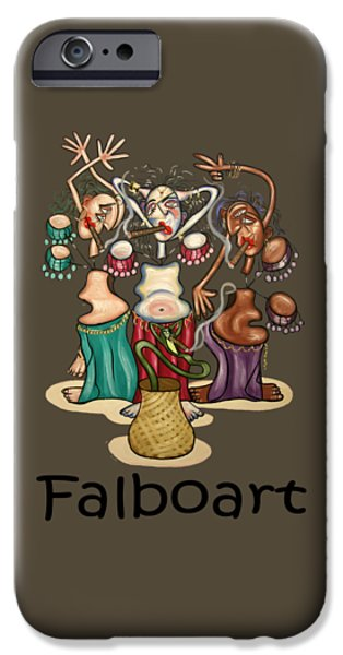 Shirt Digital iPhone Cases - Smoking Belly Dancers iPhone Case by Anthony Falbo