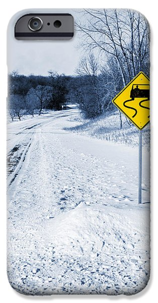 Snowy Day iPhone Cases - Snow Covered Winter Road Blue Tone iPhone Case by Donald  Erickson