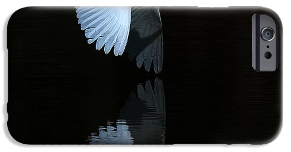 Snowy iPhone Cases - Snowy Egret Wing Reflection iPhone Case by Tam Ryan