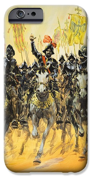 Fantasy Drawings iPhone Cases - Spanish Conquistadors iPhone Case by Graham Coton
