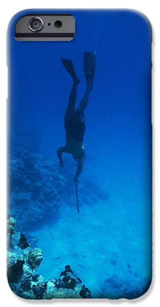 Free-diver iPhone Cases - Speargun Hunter iPhone Case by Alexis Rosenfeld