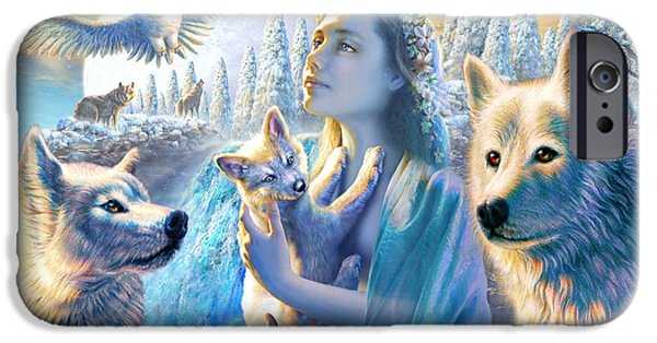 Wolf Digital Art iPhone Cases - Spirit of the Mountain iPhone Case by Adrian Chesterman