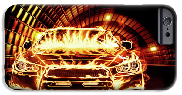 Sportcars iPhone Cases - Sports Car in Flames iPhone Case by Oleksiy Maksymenko