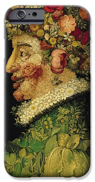 Leaves iPhone Cases - Spring iPhone Case by Giuseppe Arcimboldo