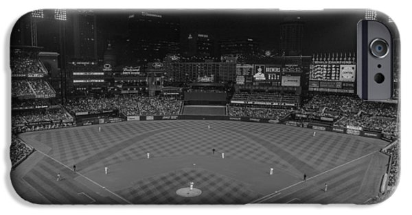 Baseball Stadiums iPhone Cases - St. Louis Cardinals Busch Stadium Black White Creative 11 iPhone Case by David Haskett