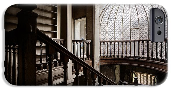 Haunted House iPhone Cases - Stairway of abandoned castle - abandoned building iPhone Case by Dirk Ercken