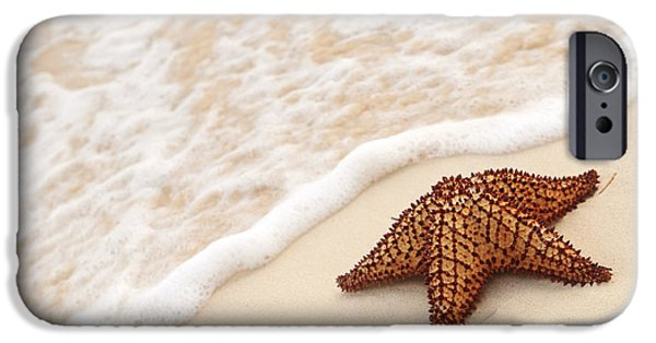 Shore iPhone Cases - Starfish and ocean wave iPhone Case by Elena Elisseeva