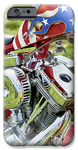 Abstract Digital Digital Art iPhone Cases - Stars and Stripes Harley iPhone Case by Tim Gainey