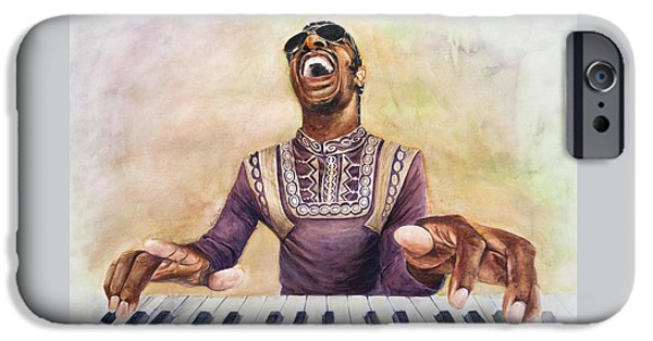 Piano iPhone Cases - Stevie Wonder iPhone Case by Adrienne Norris