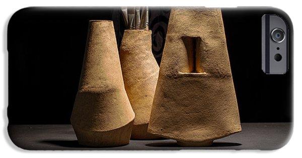 Ceramics iPhone Cases - Still Life with Brushes iPhone Case by William Sulit