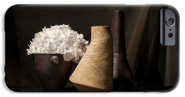 Still Life Ceramics iPhone Cases - Still Life with Flower iPhone Case by William Sulit