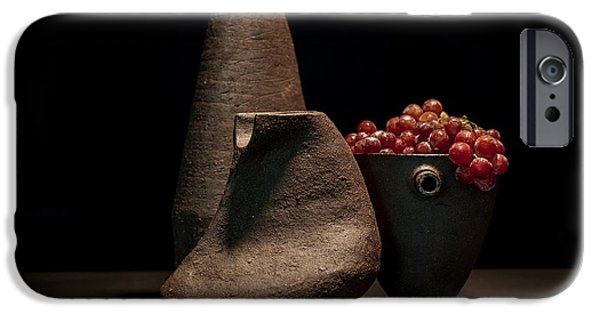 Still Life Ceramics iPhone Cases - Still Life with Grapes iPhone Case by William Sulit