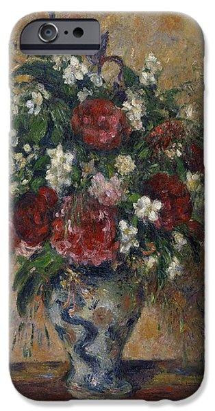 Camille Pissarro iPhone Cases - Still life with peonies and mock orange iPhone Case by Camille Pissarro