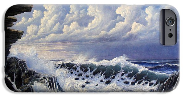 Ocean Reliefs iPhone Cases - Storm Approach iPhone Case by John Cocoris