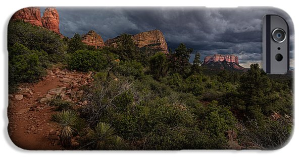 Sedona Pyrography iPhone Cases - Storm Approaching iPhone Case by Rick Strobaugh