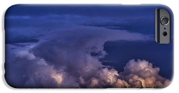 Storm iPhone Cases - Storm Clouds at Night iPhone Case by Thomas R Fletcher