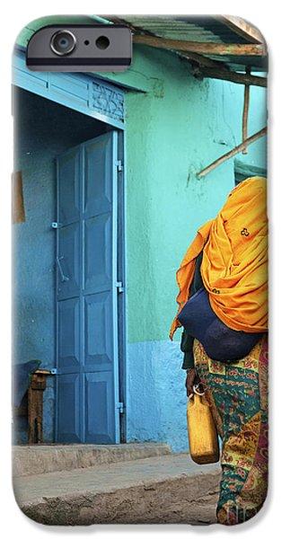 Ethiopian Woman iPhone Cases - Street In Harar Ethiopia  iPhone Case by Jacek Malipan
