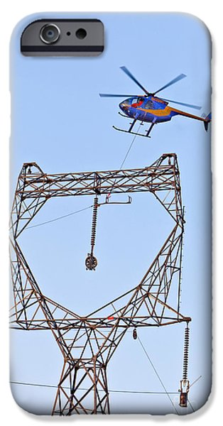 Electrical iPhone Cases - Stringing Power Cable By Helicopter iPhone Case by Inga Spence