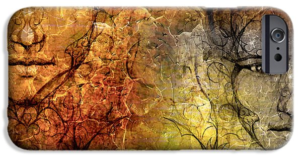 Nature Abstracts iPhone Cases - Structure Background And Ornamental Mystic Face Collage iPhone Case by Jozef Klopacka