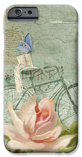 Blossom Mixed Media iPhone Cases - Summer at Cape May - Bicycle iPhone Case by Audrey Jeanne Roberts