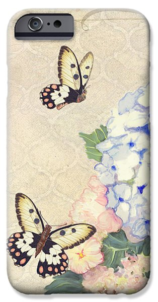 Pastel Paintings iPhone Cases - Summer Memories - Blue Hydrangea n Butterflies iPhone Case by Audrey Jeanne Roberts