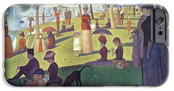 Sailing Paintings iPhone Cases - Sunday Afternoon on the Island of La Grande Jatte iPhone Case by Georges Pierre Seurat