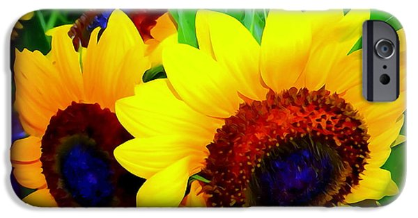 Abstract Digital iPhone Cases - Sunflower Pop iPhone Case by Ed Weidman