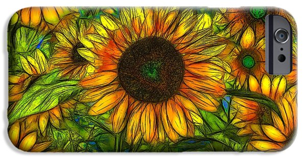 Nature Abstracts iPhone Cases - Sunflowers iPhone Case by Jean-Marc Lacombe