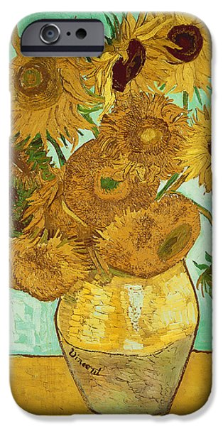 Vase iPhone Cases - Sunflowers iPhone Case by Vincent Van Gogh