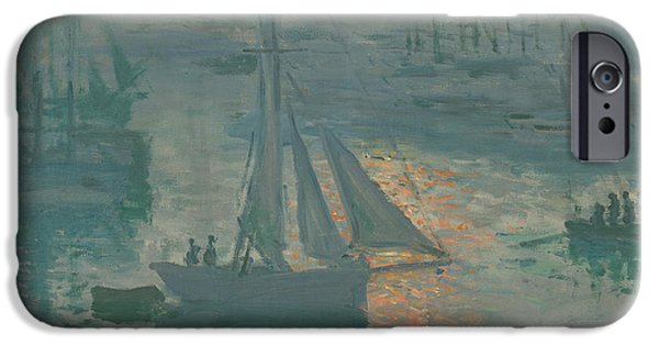 Morning Light Paintings iPhone Cases - Sunrise  Marine iPhone Case by Claude Monet