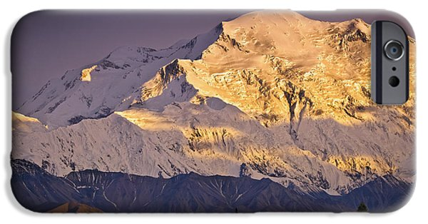 Interior Scene iPhone Cases - Sunset Glow On Mt. Mckinley, Denali iPhone Case by Sunny Awazuhara- Reed