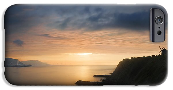 Red Rock iPhone Cases - sunset in Getxo with Aixerrota mill silhouette iPhone Case by Mikel Martinez de Osaba
