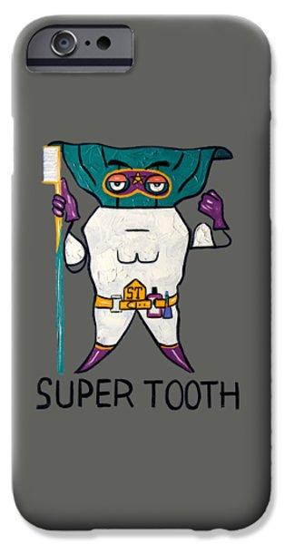 Shirt Digital iPhone Cases - Super Tooth iPhone Case by Anthony Falbo