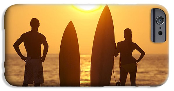 Two Waves iPhone Cases - Surfer SIlhouettes iPhone Case by Larry Dale Gordon - Printscapes