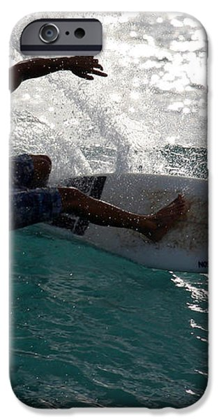 Surfer Surfing the blue waves at Dumps Maui Hawaii iPhone Case by Pierre Leclerc Photography