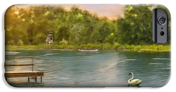 Canoe iPhone Cases - Swan Lake iPhone Case by Mary Timman
