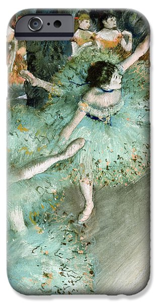 19th Century Pastels iPhone Cases - Swaying Dancer Dancer in Green iPhone Case by Edgar Degas