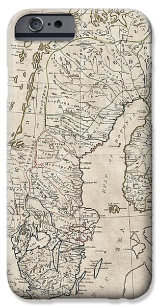 Norway iPhone Cases - Sweden Norway Denmark Antique Vintage Map iPhone Case by ELITE IMAGE photography By Chad McDermott