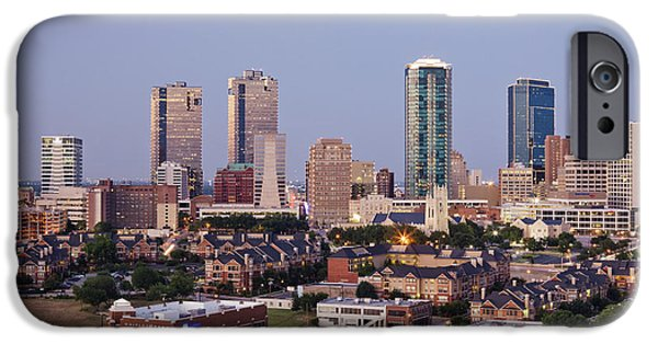 Office Space Photographs iPhone Cases - Tall Buildings in Fort Worth at Dusk iPhone Case by Jeremy Woodhouse