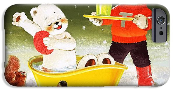 Cartoon Birds iPhone Cases - Teddy Bear Christmas Card iPhone Case by William Francis Phillipps