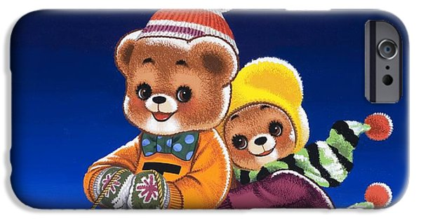 Tobogganing iPhone Cases - Teddy Bear Sleigh Ride iPhone Case by William Francis Phillipps