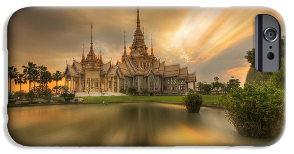 Culture Sculptures iPhone Cases - Temple At Twilight In Thailand iPhone Case by Kriangkrai Netnangrong