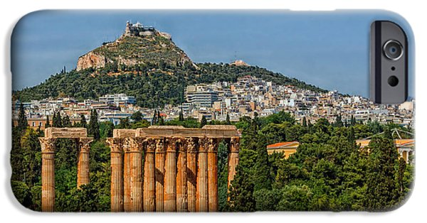 Athens Ruins iPhone Cases - Temple Of Zeus To Mount Lycabettus - Athens iPhone Case by Jebulon