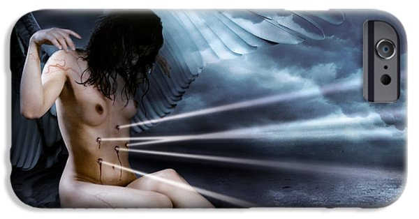 Night Angel Mixed Media iPhone Cases - The angel and the dark water iPhone Case by Diego Unspire