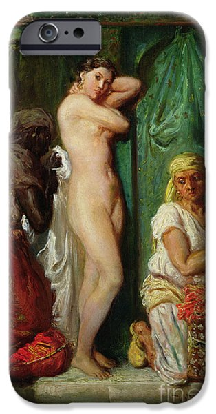 Slaves iPhone Cases - The Bath in the Harem iPhone Case by Theodore Chasseriau