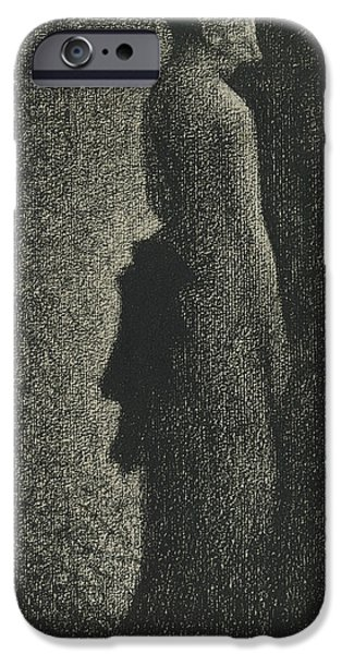 Crayons Drawings iPhone Cases - The Black Bow iPhone Case by Georges-Pierre Seurat