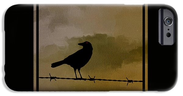 Crows Digital Art iPhone Cases - The Black Crow Knows iPhone Case by Edward Fielding