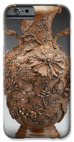 Relief Sculpture Reliefs iPhone Cases - The Cedar Ridge - bronze vase iPhone Case by Dawn Senior-Trask