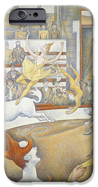 Seurat iPhone Cases - The Circus iPhone Case by Georges-Pierre Seurat